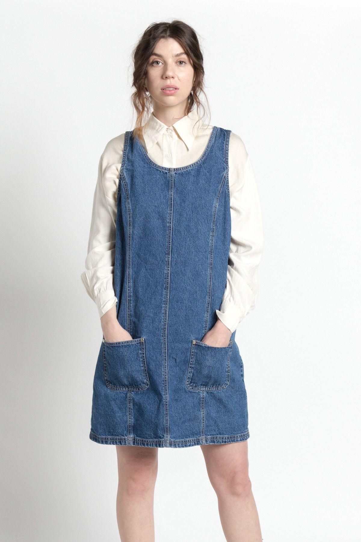 6e7da225d2a Vintage 90s Blue Cotton Denim Jumper Dress with Pockets