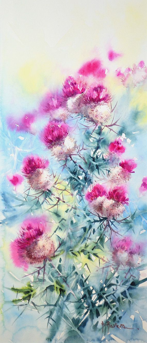 Cardo scardaccio 50 x 22 by WatercolorsRavera on Etsy, €220.00