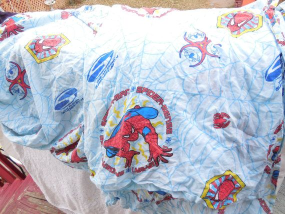 Twin Size Spiderman Sheet Set  1 Flat and 1 by Daysgonebytreasures