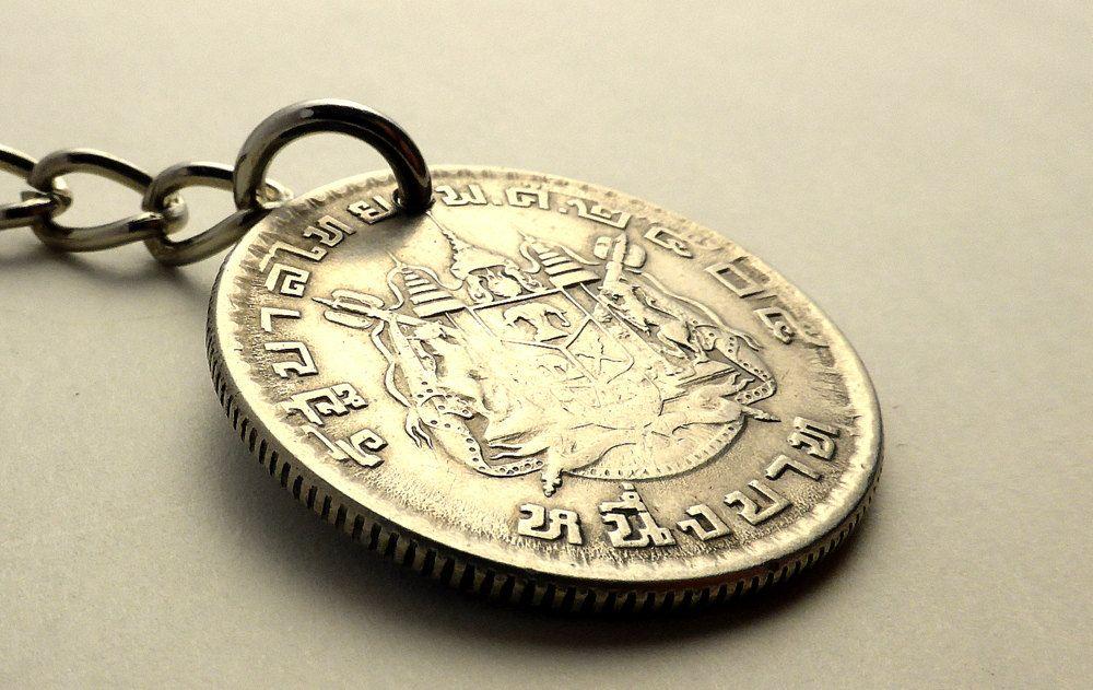 Thailand coin keychain, Thai keychain, Vintage keychain, Buddhist kechain, Buddhist temple, Thailand, Mens accessories, Gifts under 20, 1962 by CoinStories on Etsy