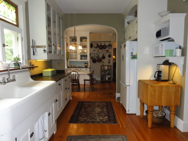 renovated vintage kitchen, side view