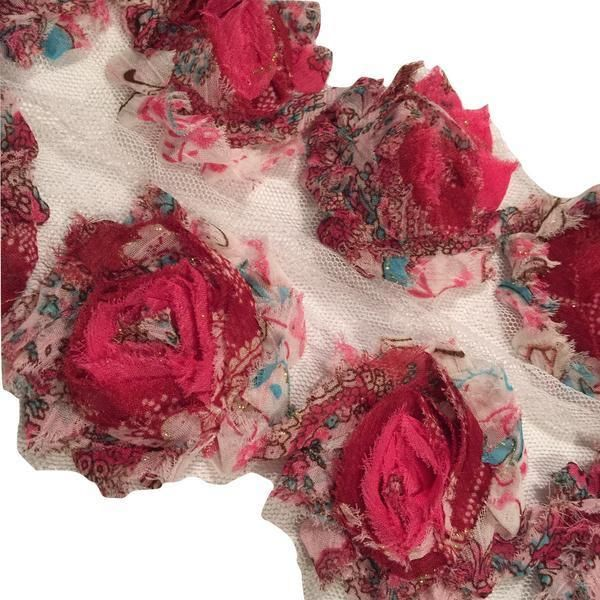 "1//2 yard white 2.5/"" shabby chiffon rose trim fabric flowers DIY baby headband"