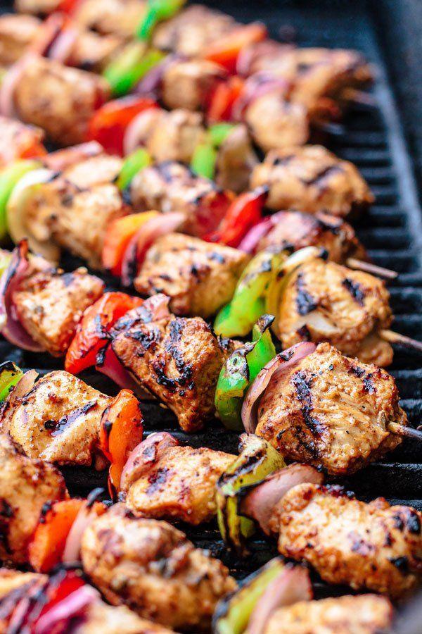 Mediterranean Grilled Chicken Kabobs + Cayenne Tahini Sauce - Make chicken kabobs like a Mediterranean pro!