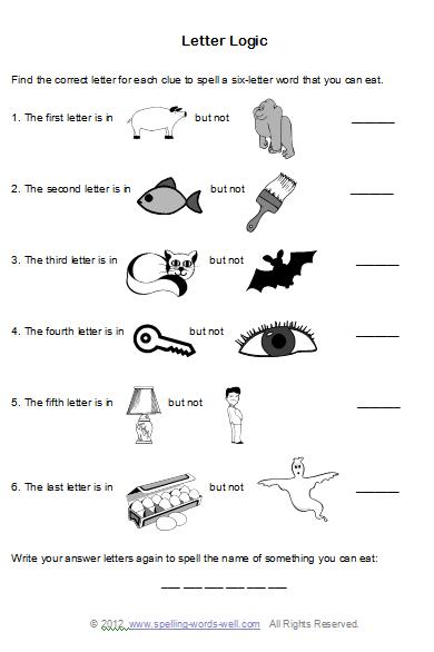 Brain Teaser Worksheets for Spelling Fun   Critical ...