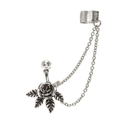 Rose Front Back Stud Earring with Ear Cuff