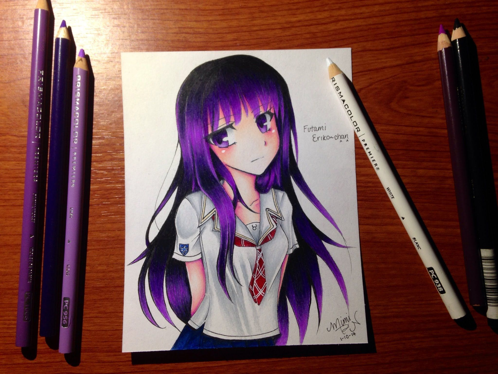 Colored Pencil Drawing Futami Eriko From Kimikiss Pure