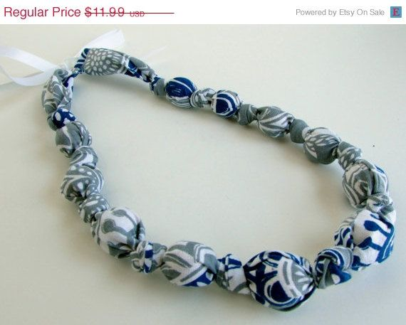 ON SALE Gray Navy Blue and White Beaded Nursing by RubyRebels, $10.79