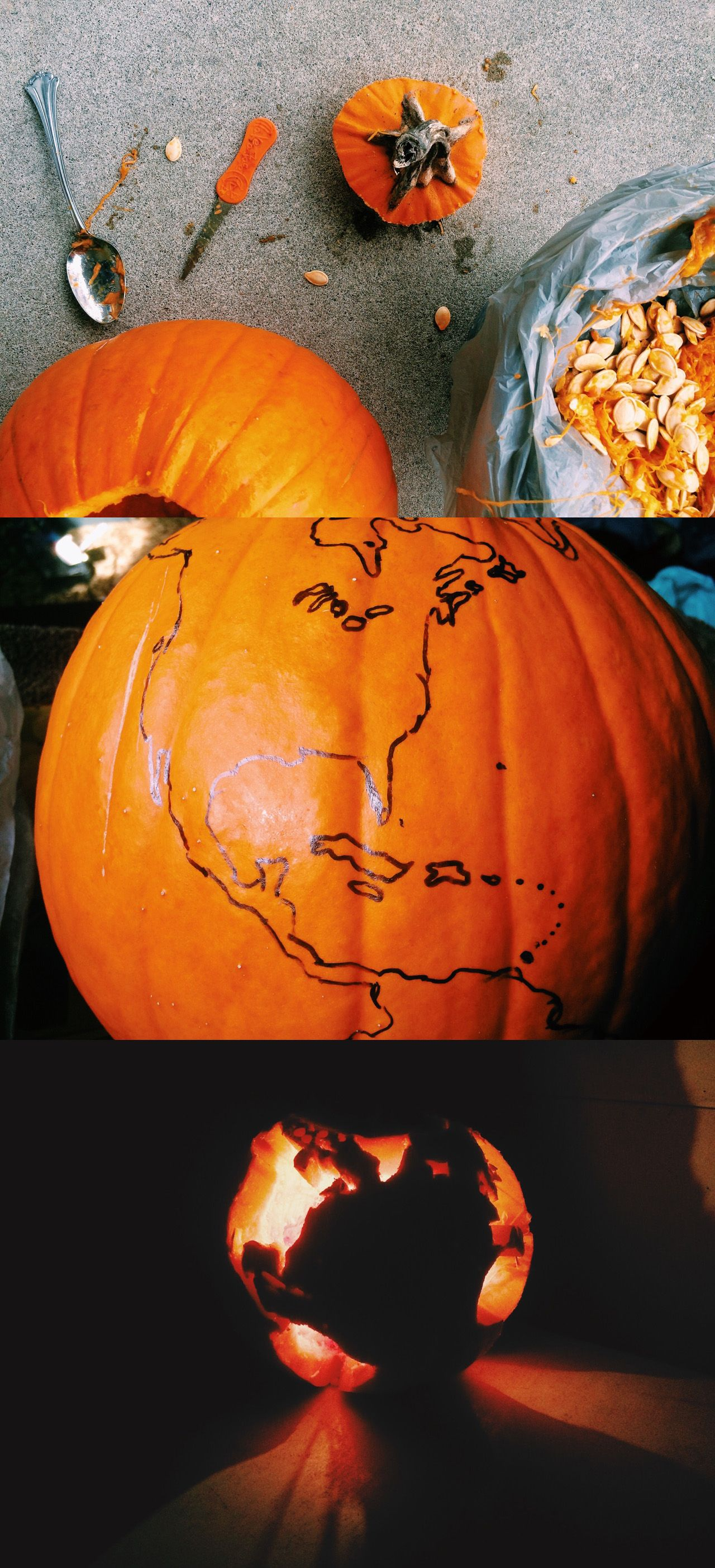 Happy halloween pumpkin globe carving map travel