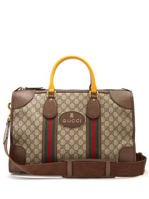 32af2fe9414 Gucci GG Supreme canvas and leather holdall