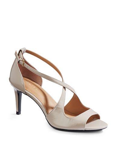 CALVIN KLEIN Calvin KleinSaffiano Leather Crisscross Heels. #calvinklein #shoes #heels