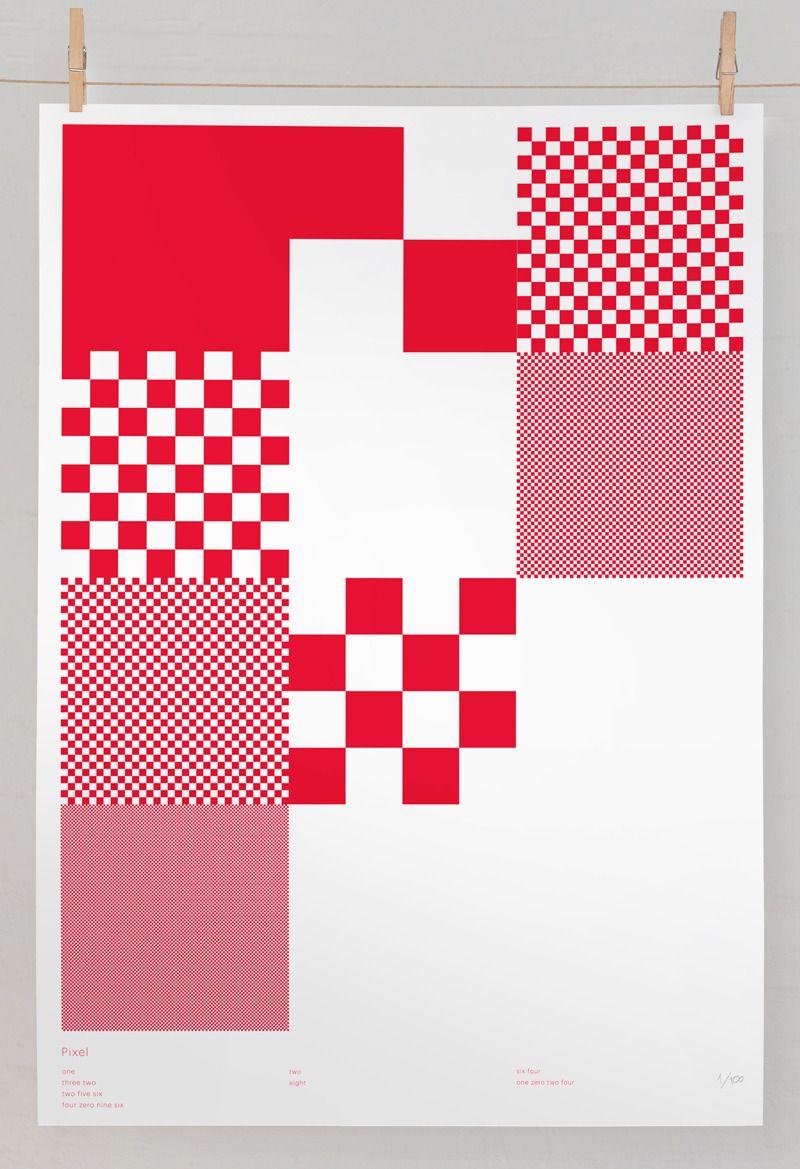 pixel hand numbered prints effektive design for print screen rh pinterest com