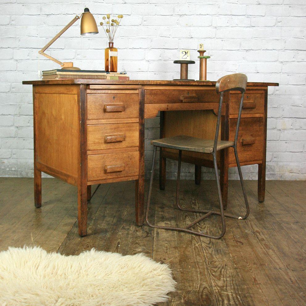 Vintage Oak School Teachers Desk - Vintage Oak School Teachers Desk Desks, Vintage And Solid Oak
