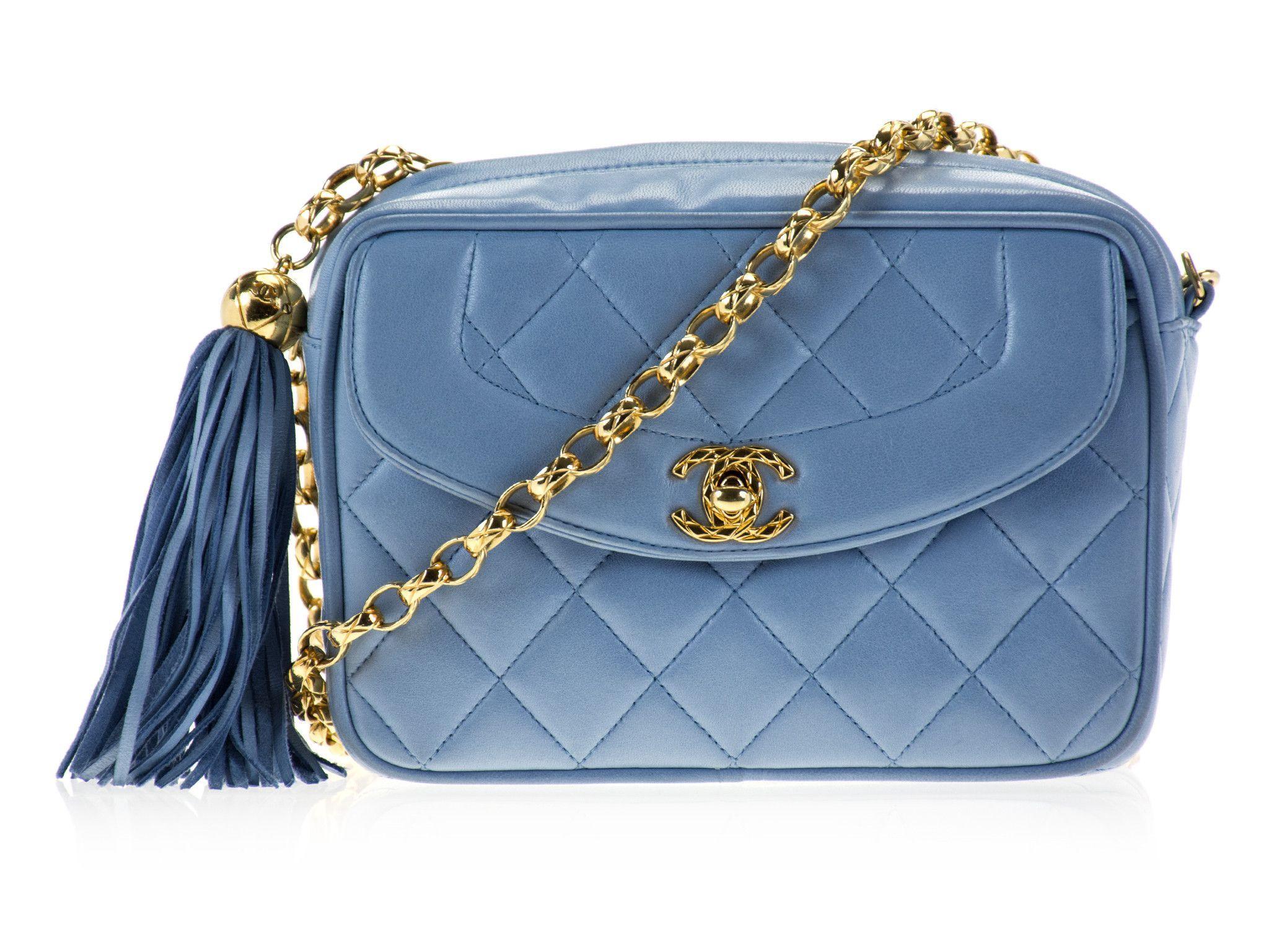 Chanel Vintage Blue Camera Bag Bags Chanel Bag Designer Purses And Handbags
