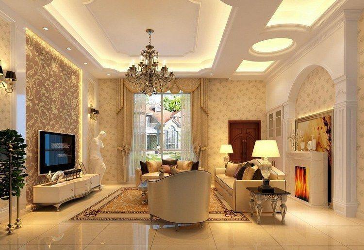 Plafond moderne dans la chambre à coucher et le salon | Interior ...