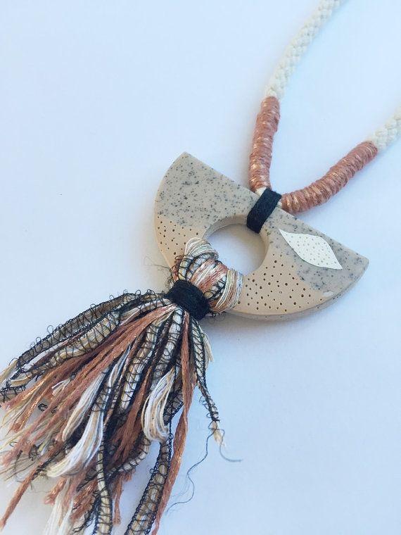 Polymer clay pendant with tassel by Kelaoke on Etsy