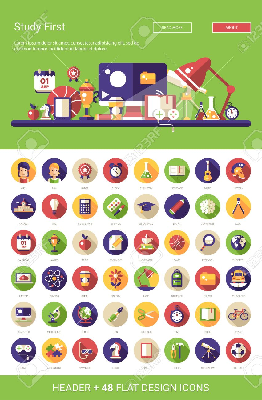 Stock Vector School design, Website illustration, Flat