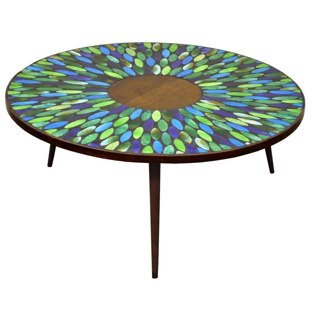 Vtg Mid Century Modern Jon Matin Mosaic Tile Top Round Coffee