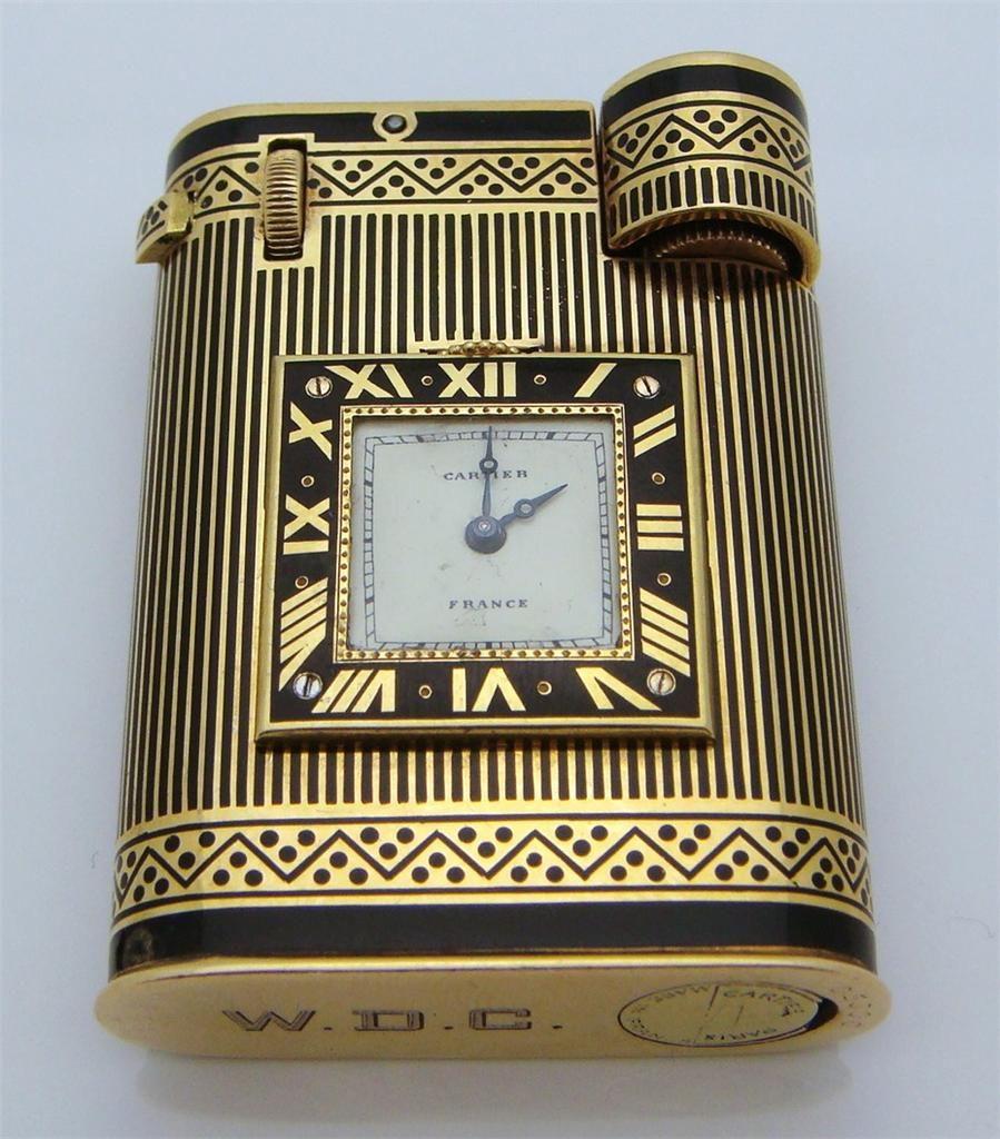cartier art d co briquet pendulette or et mail ann es 30 lighters pinterest. Black Bedroom Furniture Sets. Home Design Ideas
