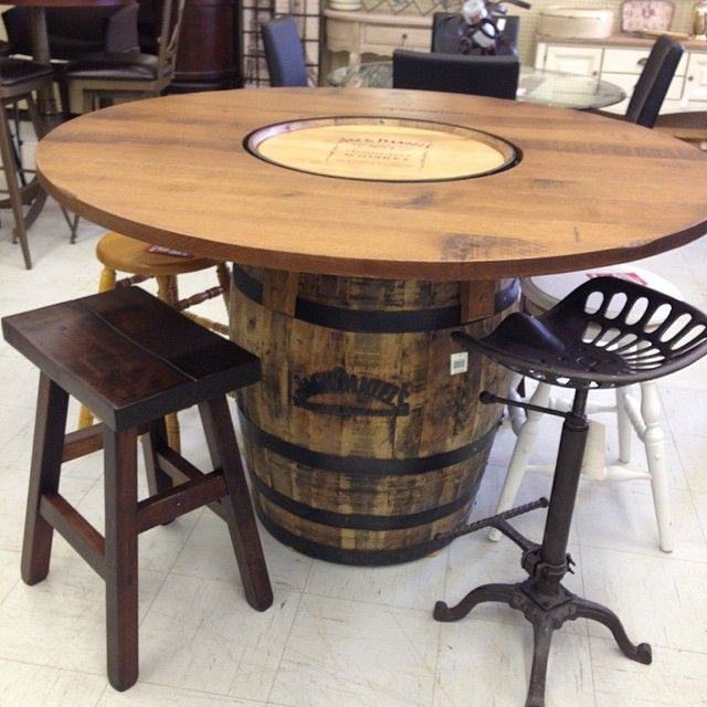 Ruff Sawn Jack Daniels Whiskey Barrel Table Barrel Table Wine