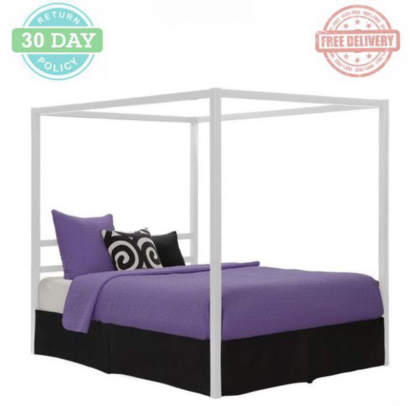 Queen Size Bed Frame White Modern Canopy Metal Side Rails Sleek Square Lines  sc 1 st  Pinterest & Queen Size Bed Frame White Modern Canopy Metal Side Rails Sleek ...