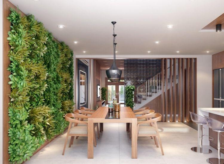 Vertikaler Garten  Offene Kueche Wandgestaltung Modern Esstisch Stuehle Holz