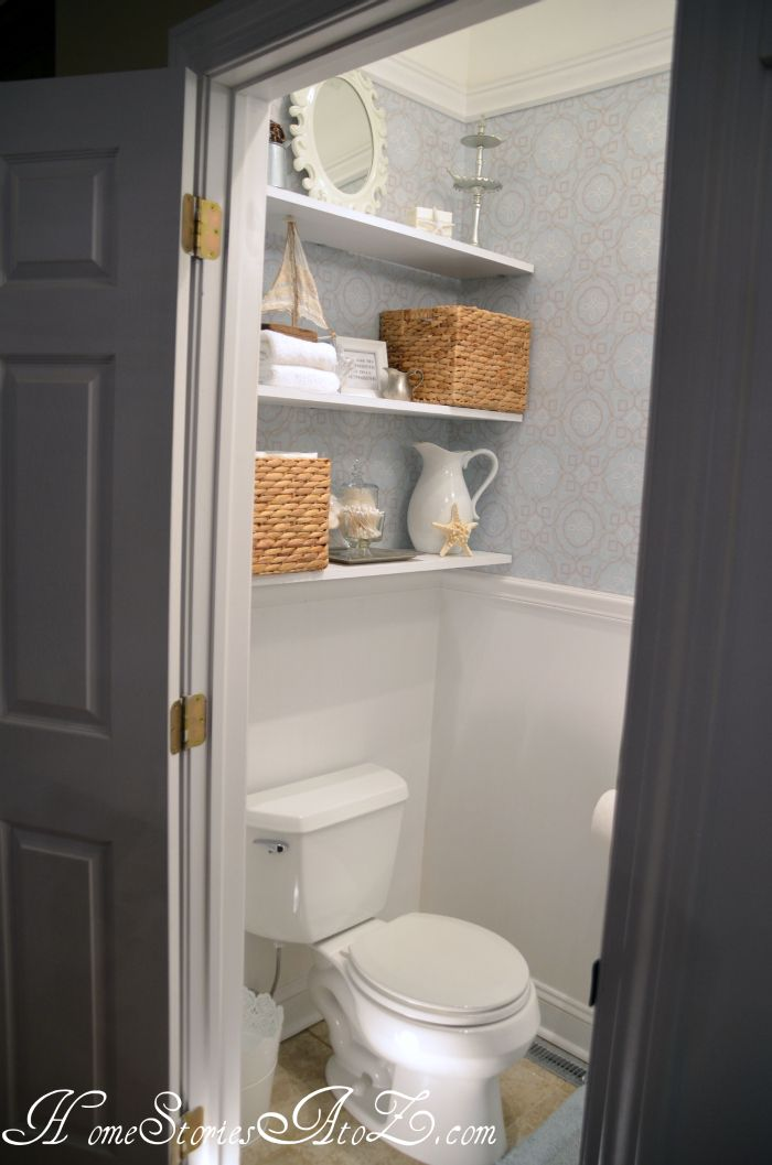 Half Bath Reveal Powder Room Shelves Over Toilet Powder Room
