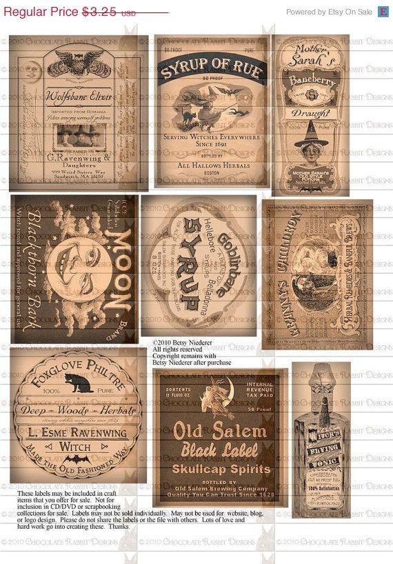 potion bottle halloween witch labels digital download printable collage sheet tag clip art diy. Black Bedroom Furniture Sets. Home Design Ideas