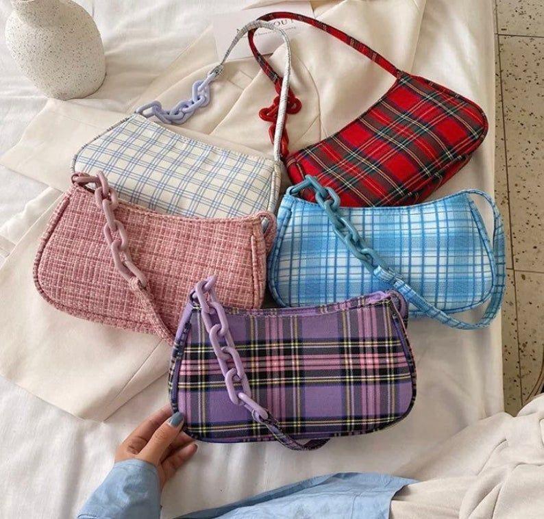 Bolso de hombro Y2K Bolso baguette bolso de hombro a cuadros bolso de hombro a cuadros estampado de cuadros escoceses estampado de cuadros escoceses  – Bolsa