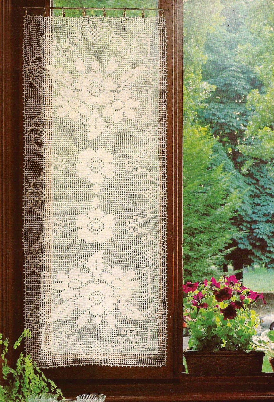 Cortina a Punto de Red | cortinas crochet | Pinterest | Cortinas ...