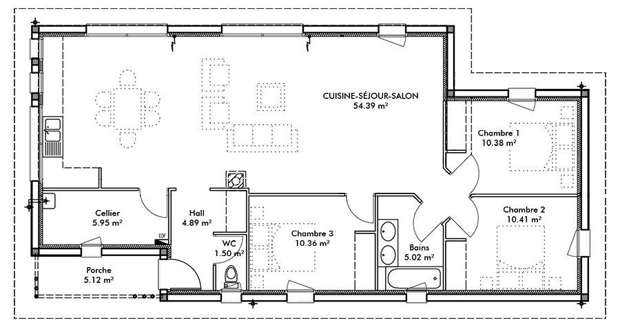 Plan maison en l plain pied gratuit Plan maison Pinterest - plan de maison rectangulaire plain pied