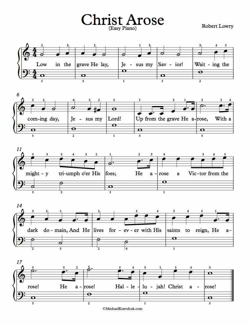 Easy Piano Arrangement Sheet Music – Christ Arose (Up From ...