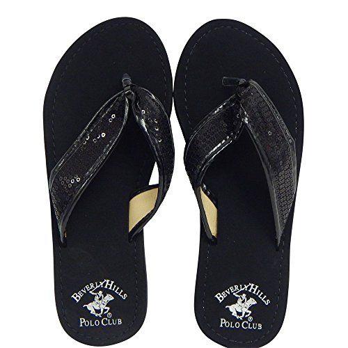68c1fdb91fae3e Beverly Hills Polo Club Fara Womens Sequin Flip Flop Sandal Thong 9 US  Black   For more information