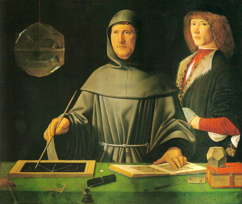 LUCA PACIOLI. El Renacimiento puso especial énfasis en la imitación de la naturaleza, lo que consiguió a través de la perspectiva o de estudios de proporciones, como los realizados por Luca Pacioli sobre la sección áurea. Demostración de los teoremas de Euclides. Jacopo de'Barbari. 1495.