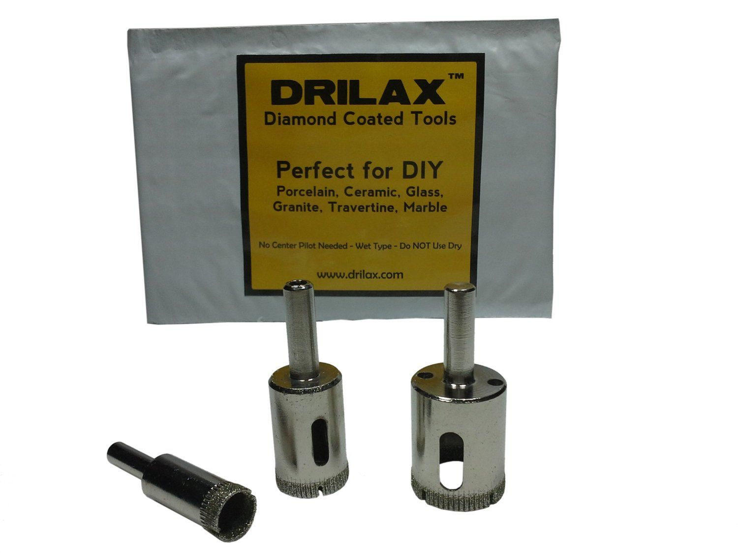 Drilax Diamond Hole Saw Drill Bit 3 Pcs Set 1 2 Inch 3 4 Inch 1 Inch Granite Glass Tile Tools 3 Piece Diamond Dust Hole Saw Dr Marble Rock Granite Quartz Sink