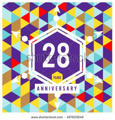 28th years greeting card anniversary with colorful number and frame. logo and icon with Memphis style cover and design template