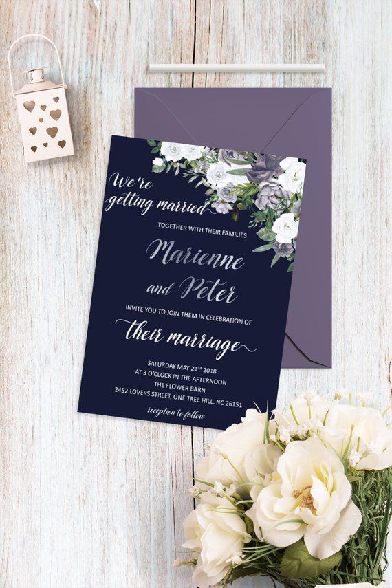 Navy Blue And Silver Wedding Invitations Elegant Magnolia