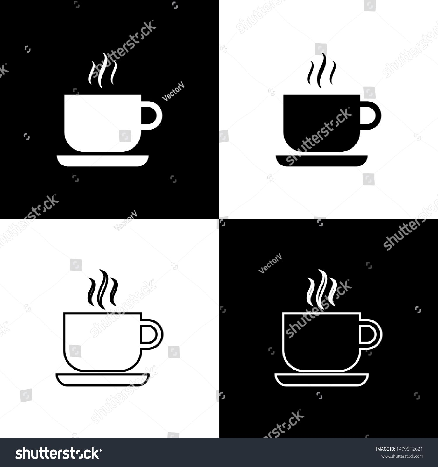 set coffee cup icons isolated on black and white background tea cup hot drink coffee line outline a in 2020 coffee cup icon black and white background cute cartoon pinterest