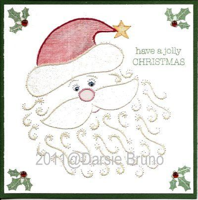 Santa Claus Christmas Paper Embroidery Pattern For Greeting Cards