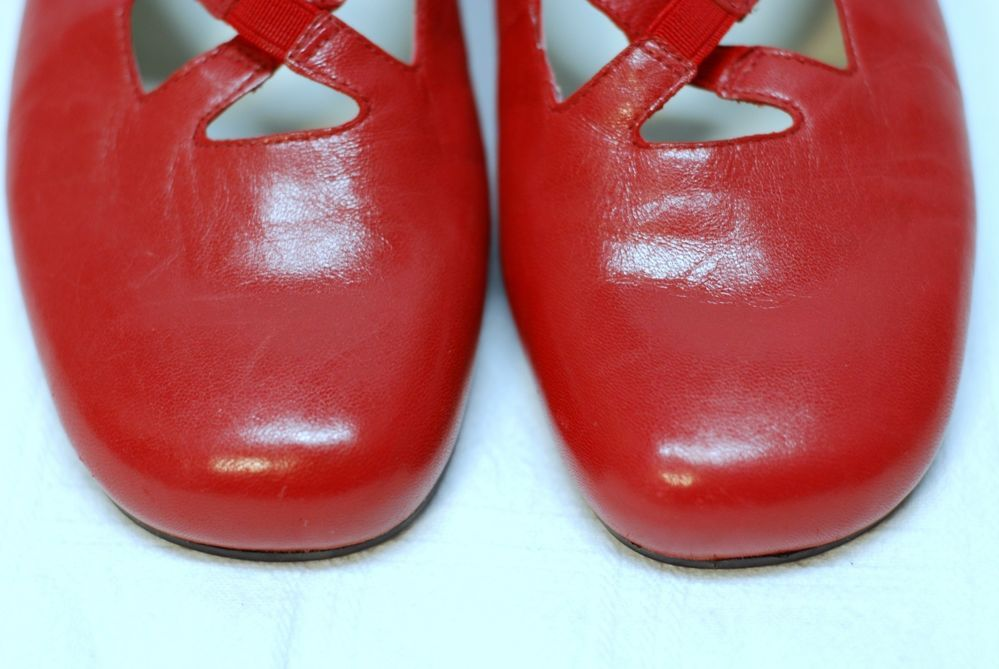 Trotters Maggie Red Leather Flat Size 8 M #Trotters #MaryJanes