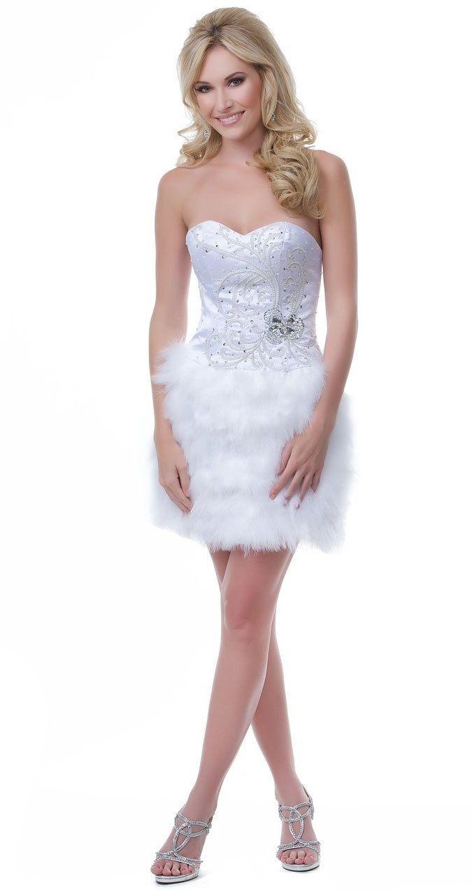 White elegant short dress sequin embellished fluffy feather skirt