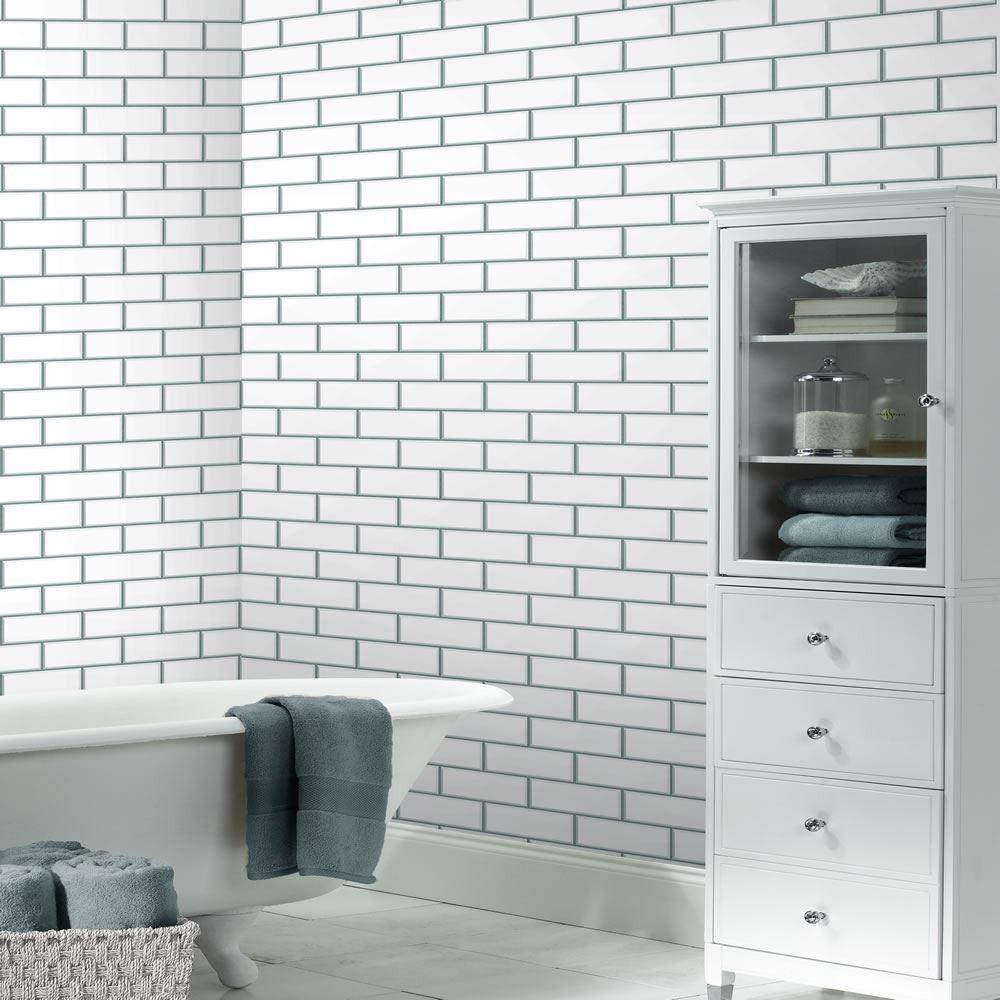 Glitter Subway Tile White Brick Tiles Bathroom White Bathroom With Wallpaper Wallpaper For Small Bathrooms