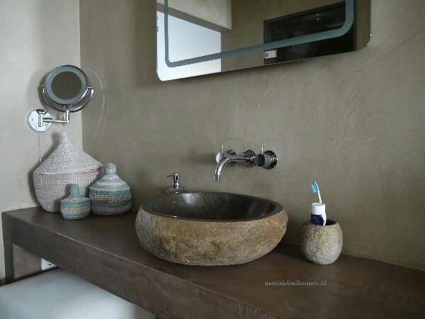 Tadelakt badkamer met natuursteen kom. | Tadelakt concrete Bathroom ...