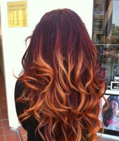 Beautiful Copper Amp Red Ombre Tiger Eye Hair Color Red Hair Color Hair Styles