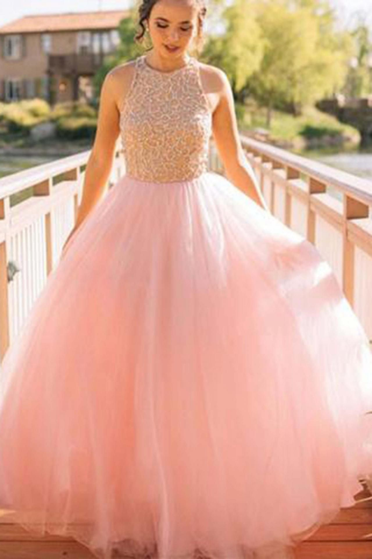 Prom dresssexy prom dresscharming pink sequin long prom gown pink