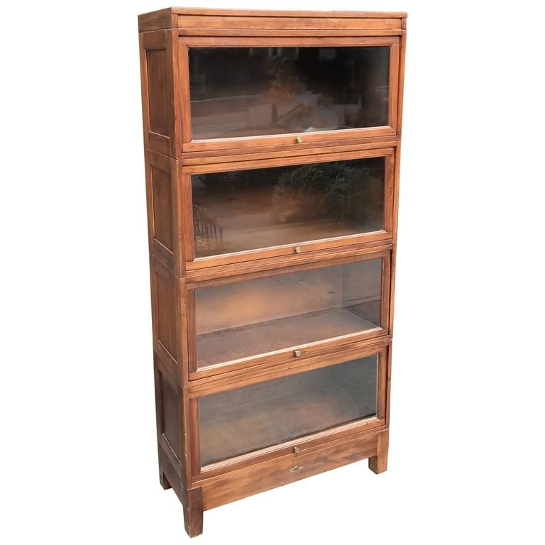 Four Stack Cherry Wood Barrister Book Case By Globe Wernicke 1