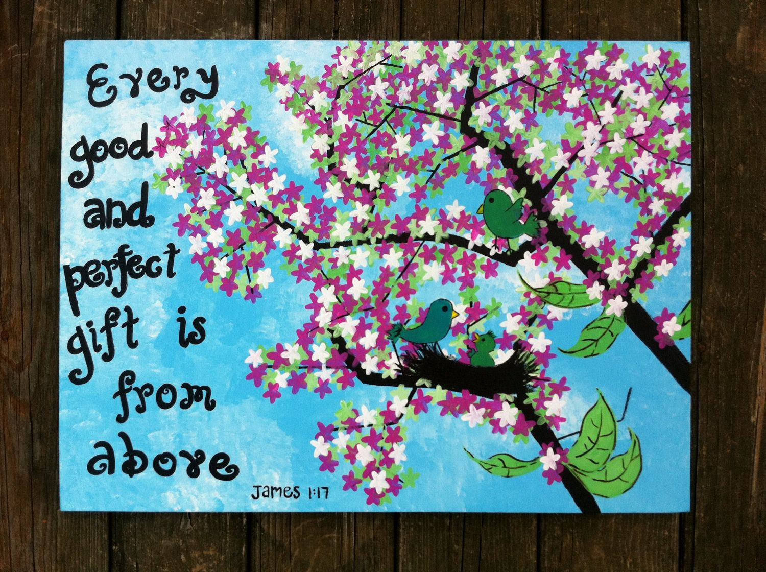 Bible Verse On Stretched Canvas With Baby Bird Acrylic Hand Made Original Painting For Children Girls Via Etsy