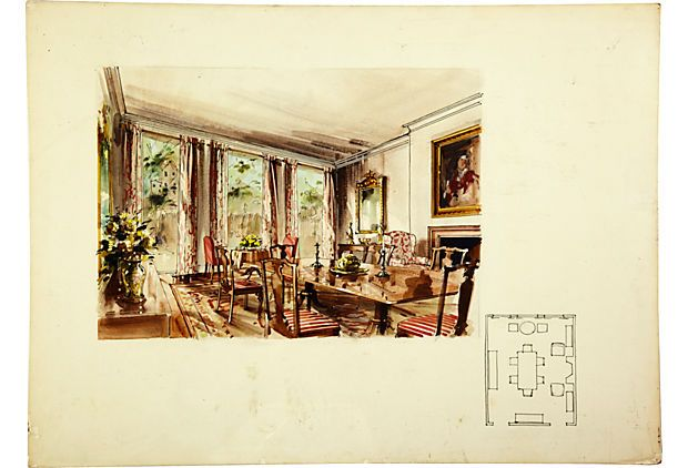 Presentation drawing by Parish-Hadley staff for dining room. Watercolor and gouache on board.