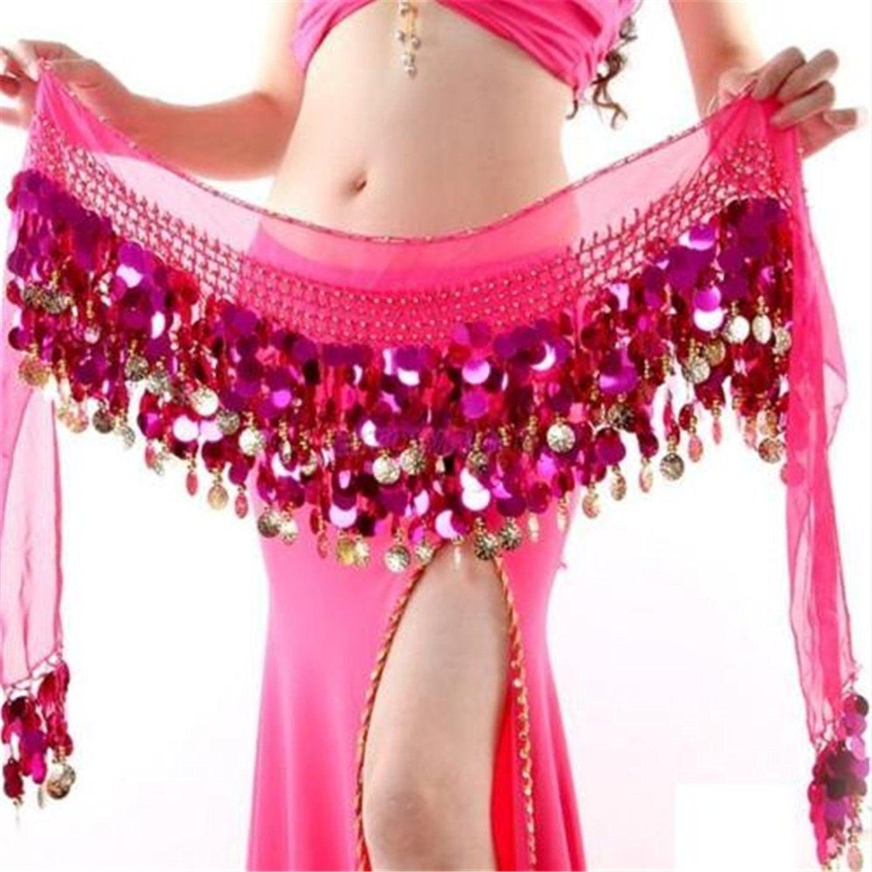 Belly Dance Costume Hip Scarf  Belt Sequin Coins Waistband Belt Skirt