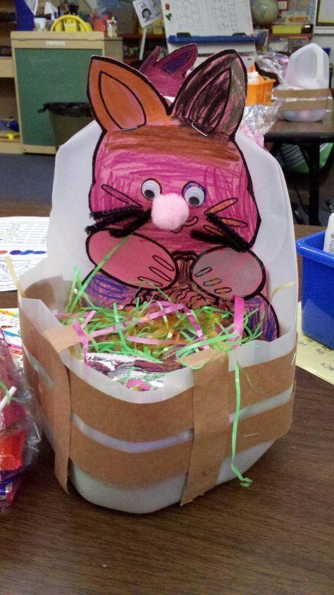Easter basket made from a milk jug spring craft pinterest easter basket made from a milk jug negle Images
