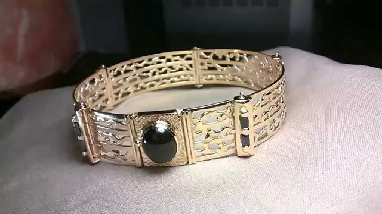 Unisex bracelet karat gold sapphires cobalt tourmaline